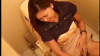 Office restroom girl masturbating