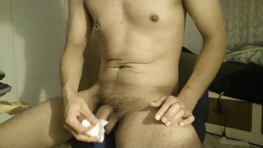 solo Japanese male wanking with condom