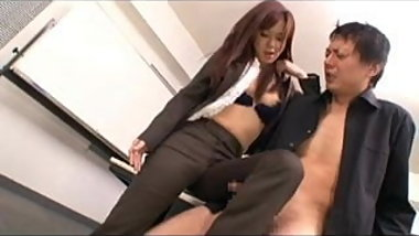 Japanese Legjob. Masturbation, using One Leg in Pants
