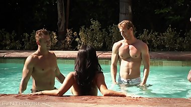 Asa Akira Sucks Cock By The Pool