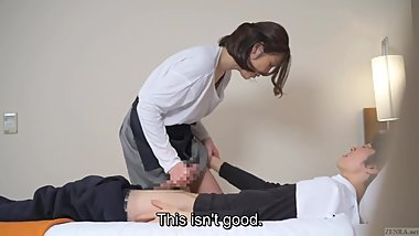Subtitled Japanese hotel massage leads to blowjob in HD