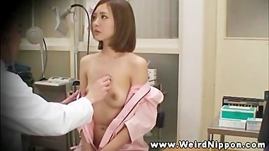 Breast exam for this asian lady from her horny doctor