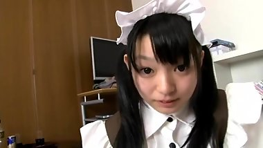 Japanese girl Konoha in pretty maid costume