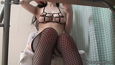 Japanese with big natural tits bondage in the room