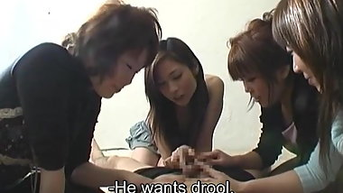 CFNM handjob with cumshot by group of Japanese women