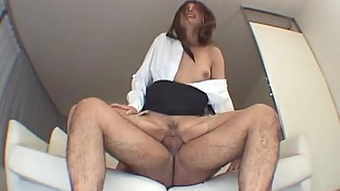 Sexy Japanese school girl sucks and slurps on two big dicks