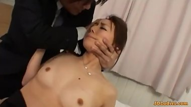 Secretary Getting Her Tits And Pussy Rubbed Stimulated With Vibrator Finger
