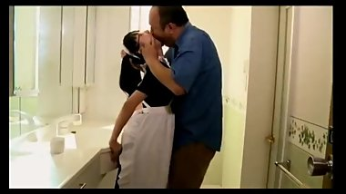 guy and cute maid spit kiss like crazy